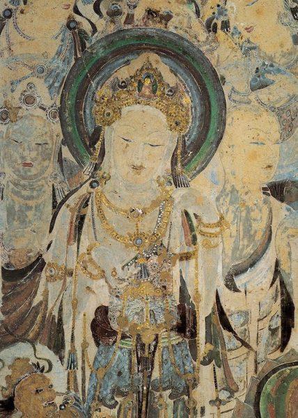 Duhuang Cave - Mural of Avolokitesevara (Bodhisattva Guanyin), Worshipping Bodhisattvas and Mendicant. Early Tang