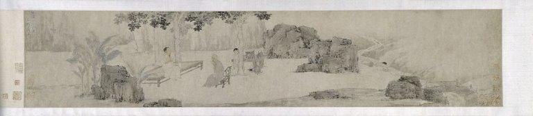 "Tang Yin, Ming dynasty painting. ""Tea Drinking Under the Wutong Tree"""