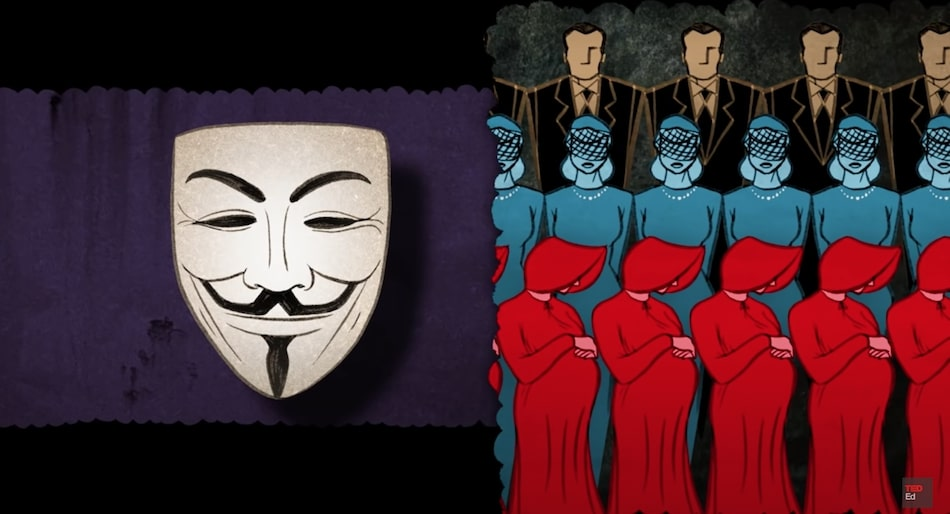 animation - drawing of details of films V for Vendetta and The Handmaid's Tale