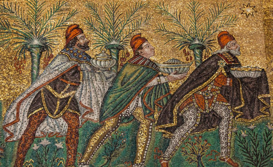 Mosaic of Three Wise Men wearing trousers and Phrygian caps in Basilica of St Apollina, Ravenna, Italy.