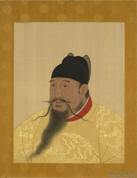 Portrait of Yongle emperor from china wears yellow traditional robe and black hat has a long beard