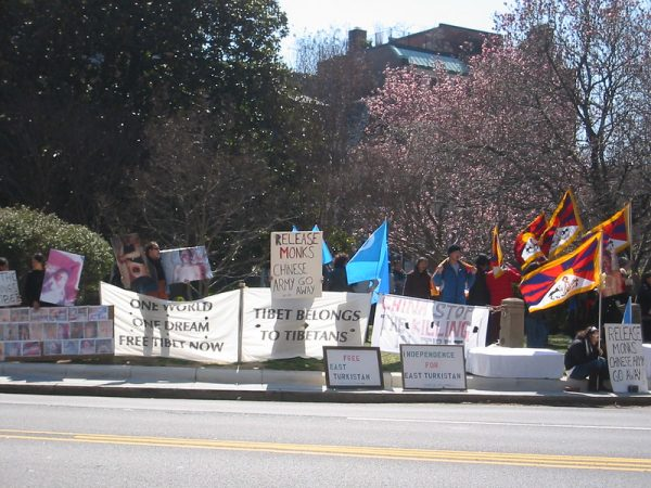 Demonstrators for Tibetan and Uyghur self-determination in front of China's embassy in Washington D.C. in March, 2008