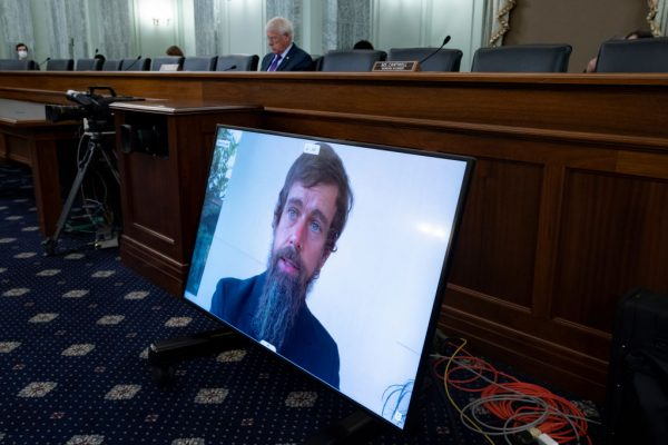 Twitter CEO Jack Dorsey appears on a monitor as he testifies remotely during the Senate Commerce, Science, and Transportation Committee hearing 'Does Section 230's Sweeping Immunity Enable Big Tech Bad Behavior?', on Capitol Hill, October 28, 2020 in Washington, DC