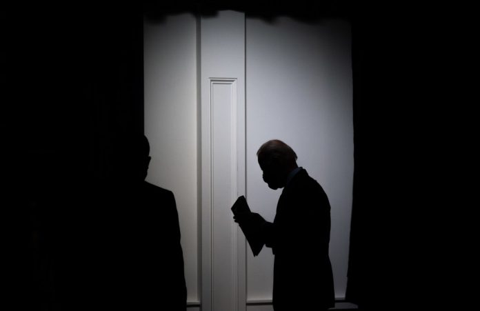 US President Joe Biden leaves after speaking about the American Rescue Plan and the Paycheck Protection Program (PPP) for small businesses in response to coronavirus in Washington, DC, February 22, 2021.
