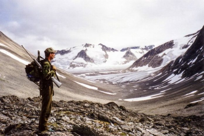 Bill Hanlon near the discovery site of the Canadian Ice Man.