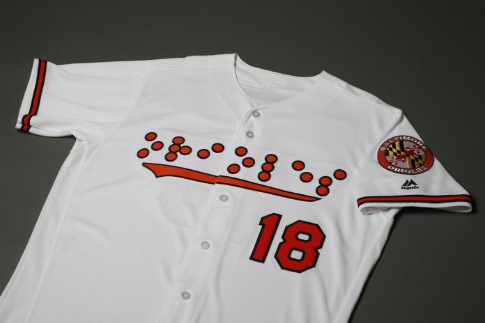 Baltimore Orioles braille uniform