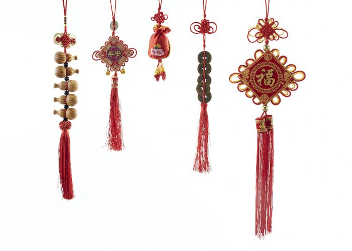 5 different chinese charms with all different style knotting
