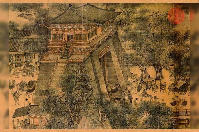 Bianjing city gate depicted in the Song Dynasty painting,