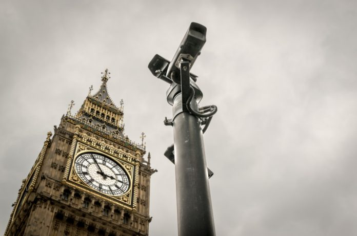 CCTV cameras in London with Big Ben in the background.