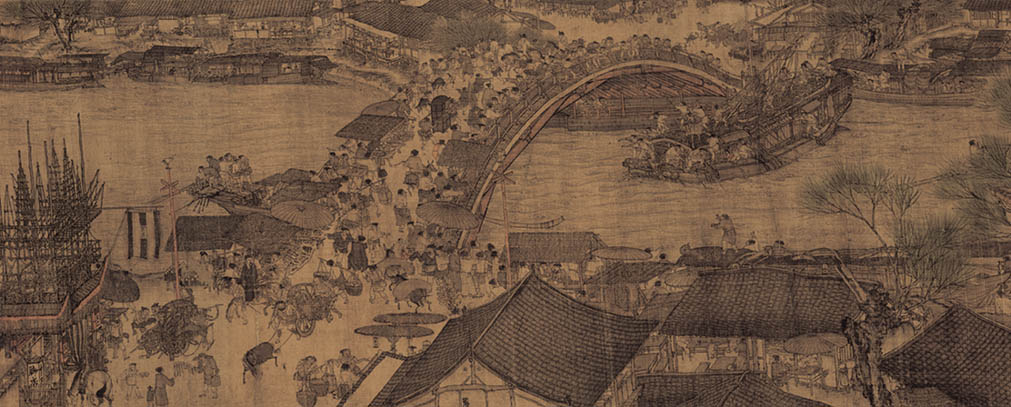 """The bridge scene from the Song Dynasty painting, """"Along the River During the Qingming Festival"""" from the 12th century."""