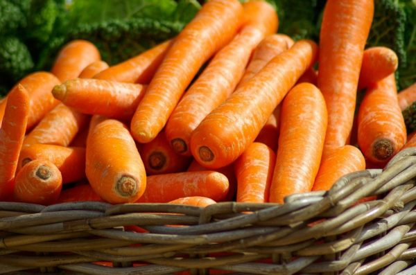 A woven baskes full of carrots.