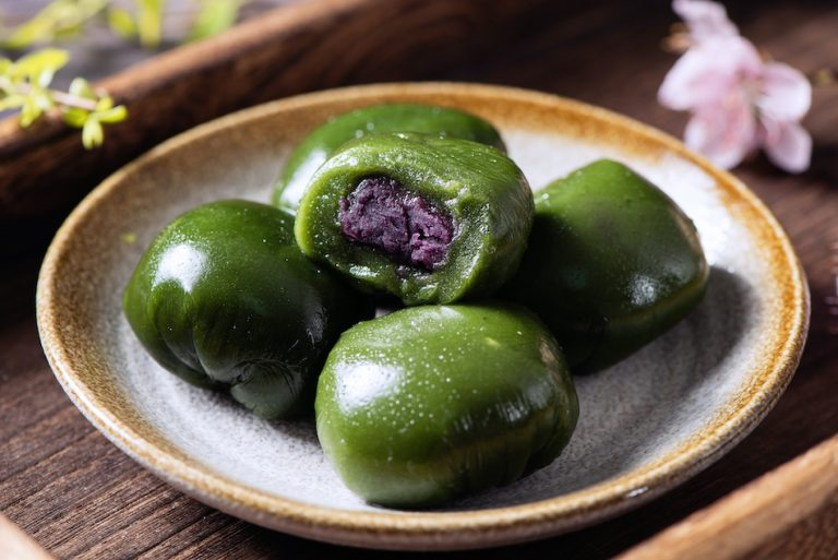 Sweet green rice ball. A traditional Qingming Festival food.