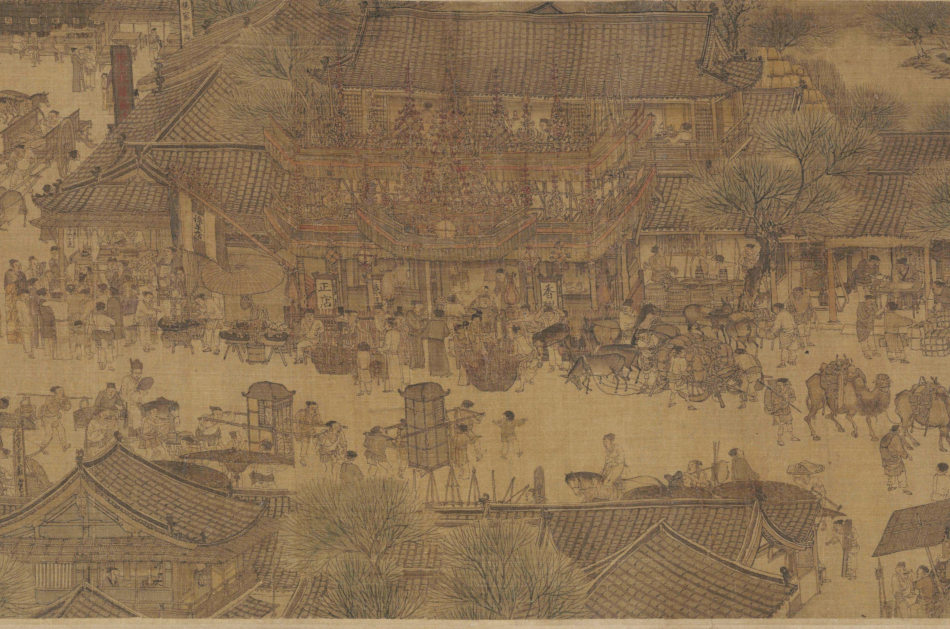 """Urban sprawl from the Song Dynasty painting, """"Along the River During the Qingming Festival"""" from the 12th century."""