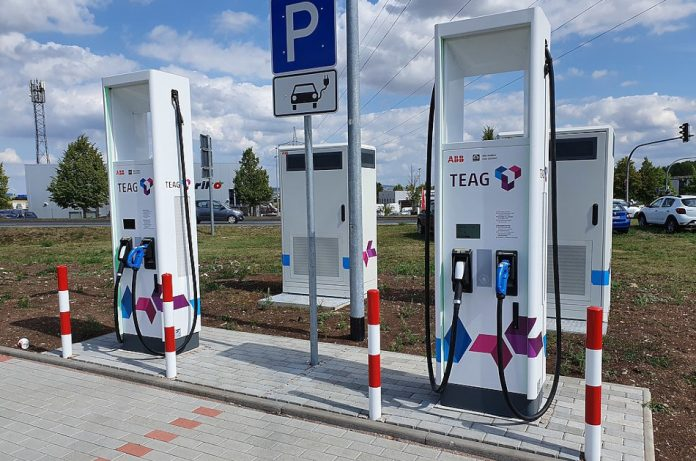 An Electric Vehicle charging station.