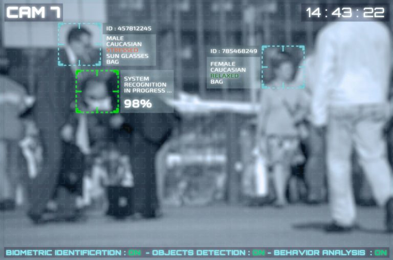 Simulation of a screen of cctv cameras with facial recognition.