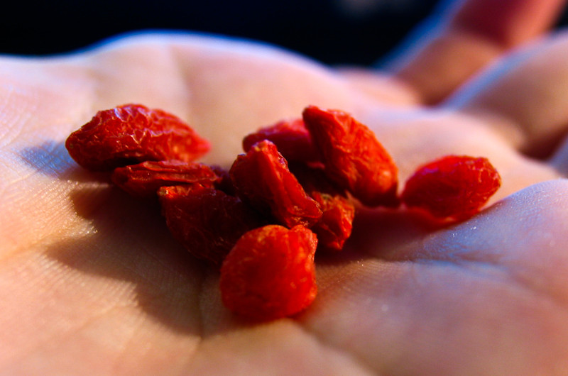 A person with some goji berries in their hand.
