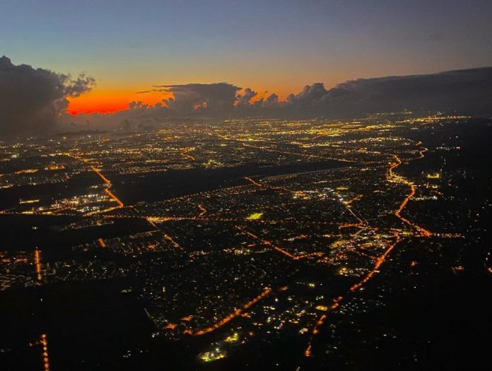Aerial view of Perth by night