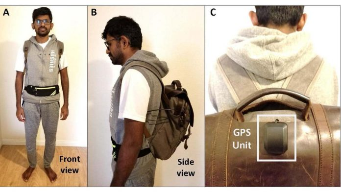 The backpack for the blind converts all the information received by the cameras and sensors into an audio navigation mode.