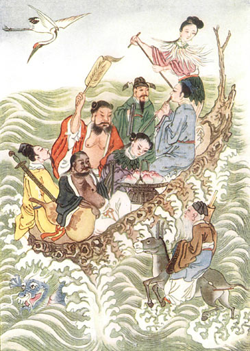 Illustration of the Eight Immortals Crossing the Sea from Chinese Legend.