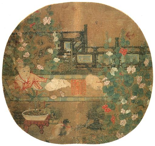 Painting of Song Dynasty baby and two cats at play.