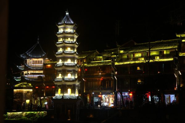 night scene in the center of the ancient city