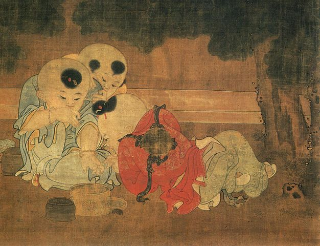 Painting of Song Dynasty children playing in an Autumn courtyard.