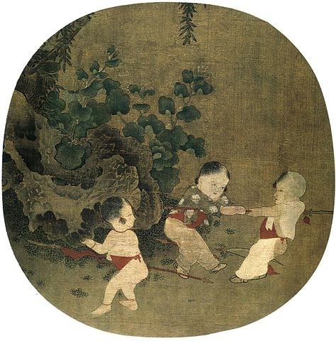 Painting of Song Dynasty children playing in an Autumn garden.