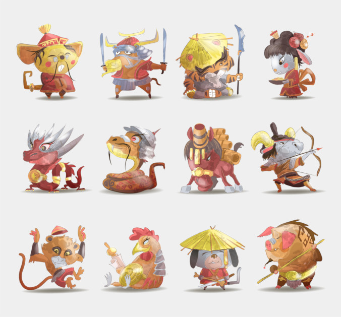 The 12 animals of the Chinese Zodiac as cartoon characters dressed in ancient Chinese clothing.