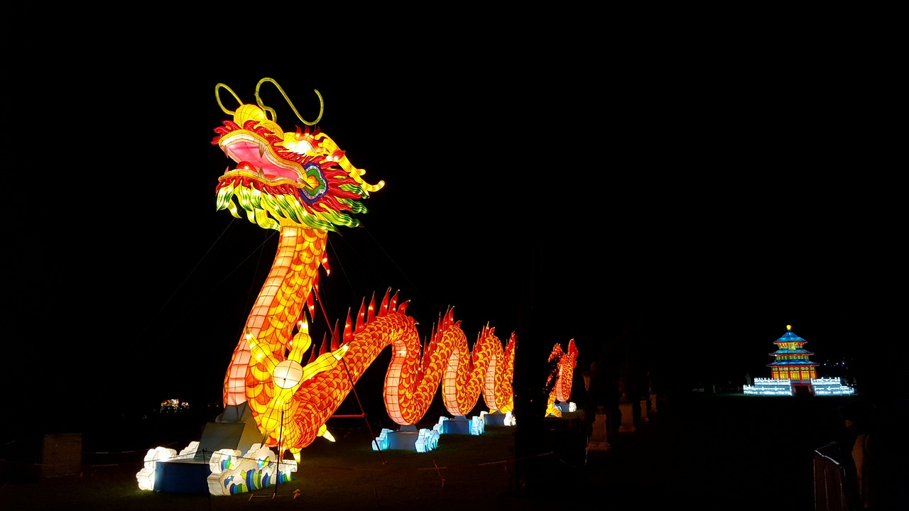 Large Chinese lantern in the shape of a dragon.