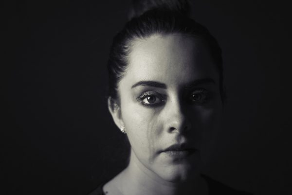black and white image lady with tears