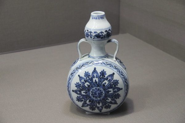 Blue and white Ming porcelain on display at the Palace Museum in Taiwan.