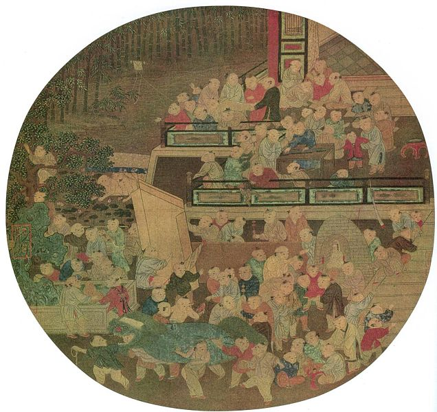Painting of 100 Song Dynasty children playing in the spring.