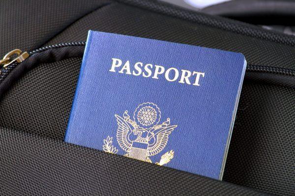passport tucked into bag