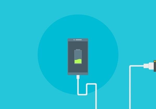 Conceptual image of a phone charging, showing battery charging symbol