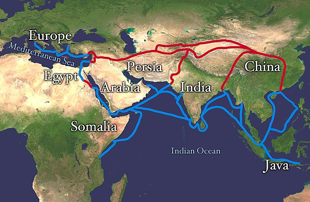 The history of silk includes the Silk Road.