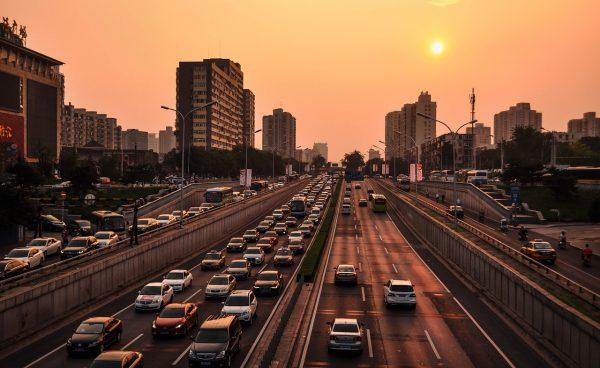 streetscene traffic with sunset