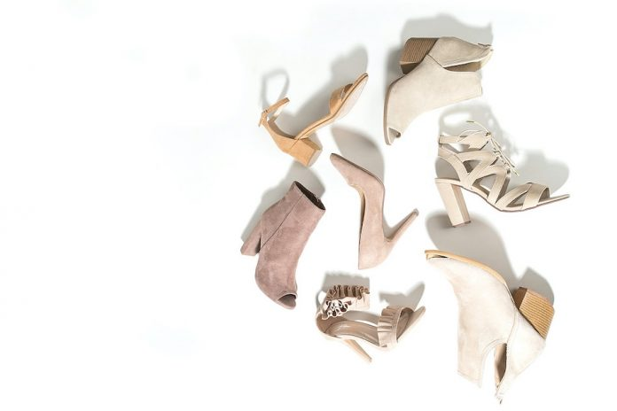 selection of women shoes on white background