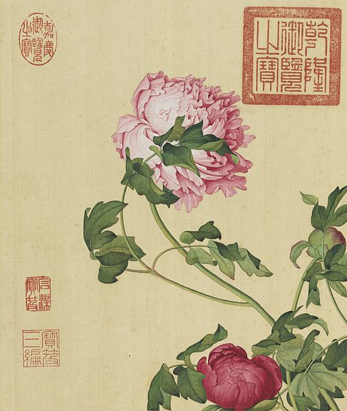 Chinese-style painting of pink peonies.