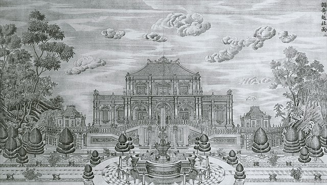 Depiction of one of the Emperor's mansions at the Old Summer Palace, copper engraving based on drawing by Giuseppe Castiglione.
