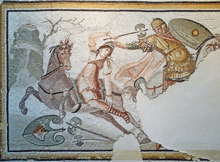 An ancient Roman mosaic depicting a Wonder Woman-like Amazon warrior armed with a labrys engaged in combat with a hippeus, 4th century A.D.
