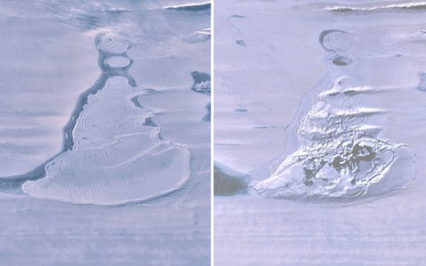 The sudden disappearance of an Antarctic ice shelf lake.