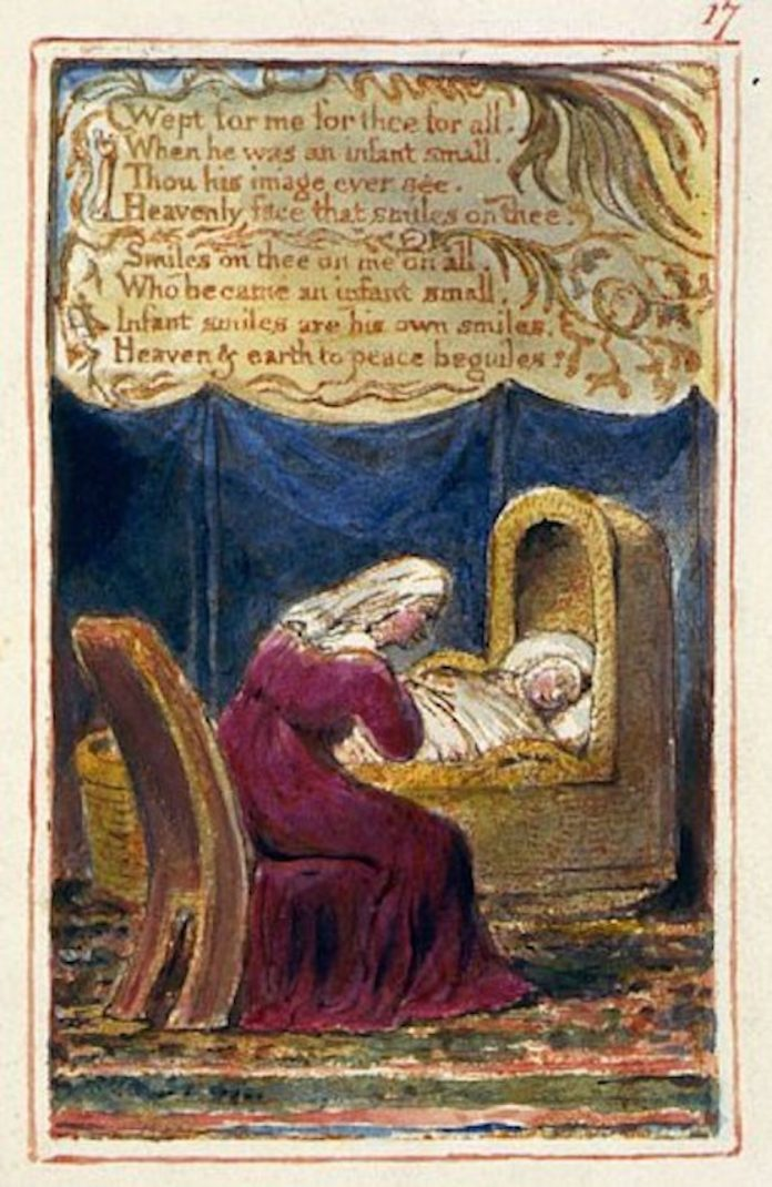 Mother sits over child in cradle in illustration and second part of the poem