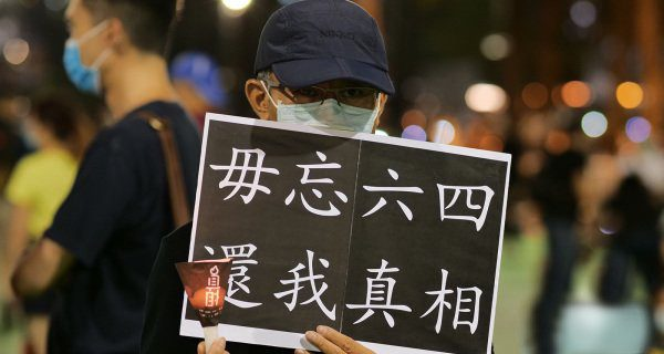 People of Hong Kong mourning june 4th massacre.