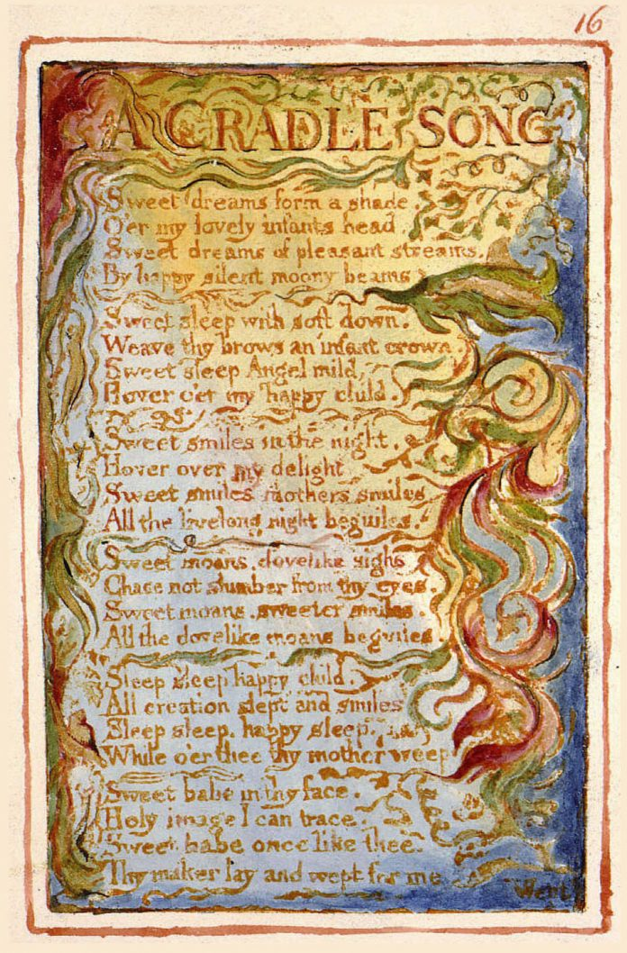 A Cradle Song the original poem as hand written and painted in gold red and green colors from William Blake