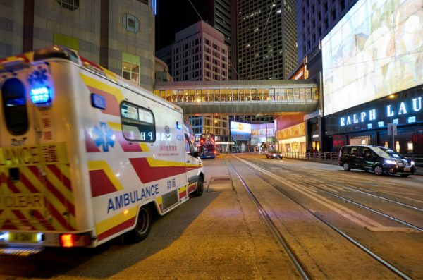 Ambulance seen in Hong Kong at night.