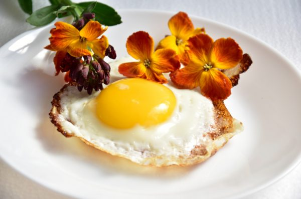 Fried egg on a plate surrounded by flowers.