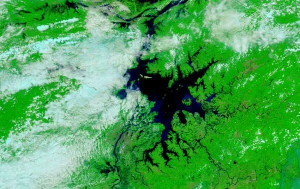 Poyang Lake as seen in a satellite image.