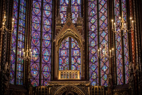 purple stained glass windows and gold trimmings Sainte Chapelle France