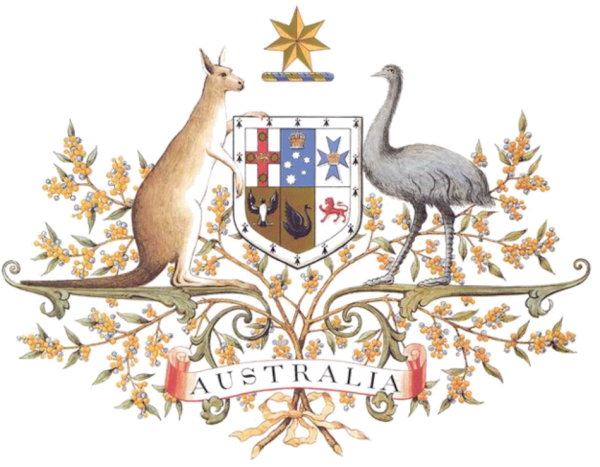 The Australian Coat Of Arms has a Kangaroo and an Emu holding a shield. The shield has icons that represents the Australian states. The Wattle surrounds the picture.