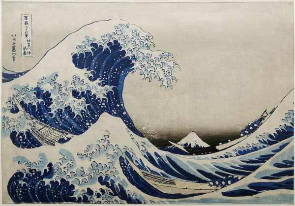 A Famous print by Katsushika Hokusaitathat. The print is part of a collection of 36 views of Mount Fuji. The painting shows big waves with a row boat riding the waves. Mount Fuji can be seen through a gap in the waves.